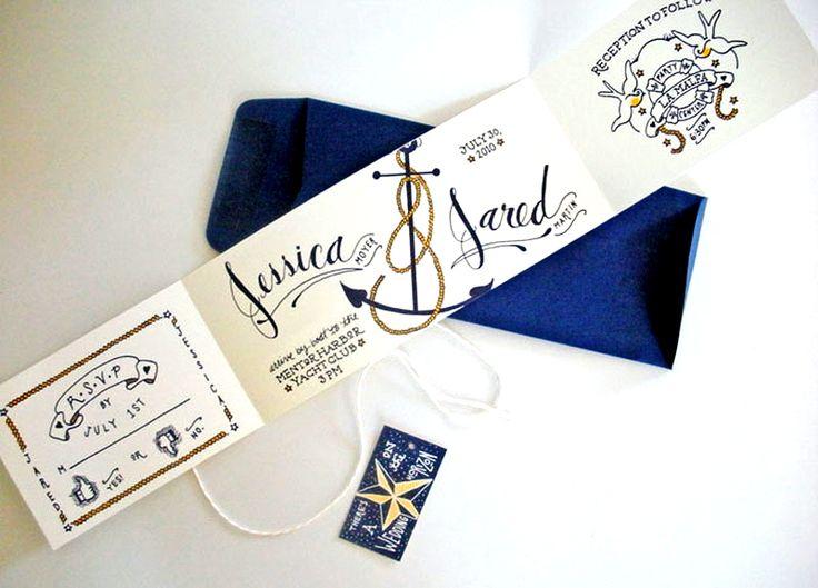 Sailor Tattoo-Inspired Wedding Invitations | Oh So Beautiful Paper