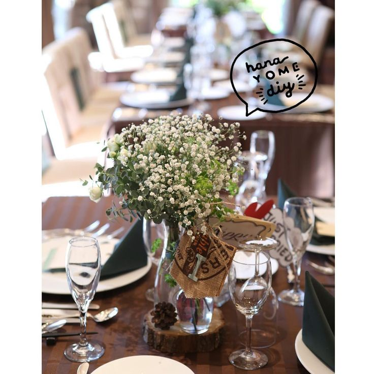 *→#charu_party . #テーブルコーディネート ♡ ブーケと合わせてかすみ草に切り株と松ぼっくり🌿 小瓶は2つにしてほしいとリクエストしました♡ テーブルクロスは焦げ茶ストライプ💓 テーブルナフキンは深緑🎄 クリスマスツリーのイメージでした✨ #テーブルナンバー は本物の枝やらコルクやら、麻袋やら…の手づくりで、装花と一緒に挿してもらいました😍💓 テーブルナンバー、お譲り(@charu_oyuzuri )出してますので気になる方、DMお待ちしてます(o^^o) . #卒花 #卒花嫁 #結婚式 #人前式 #結婚式レポ #披露宴 #2016冬婚 #ちーむ1203 #日本中のプレ花嫁さんと繋がりたい #ウェディングニュース #marryxoxo #marry花嫁 #ハナコレ #ウェディングフォト #5cco_girlz #ハナコレストーリー #juno4u #披露宴 #装花