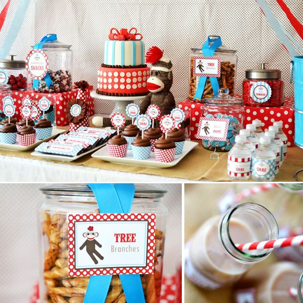 (for gen) cute sock monkey birthday party stuff