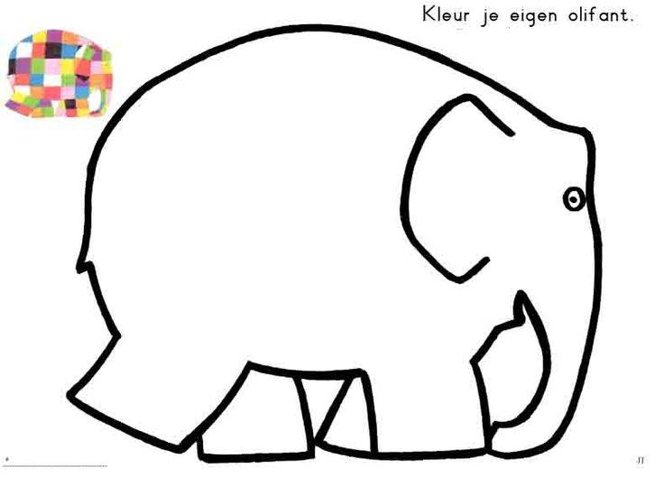 kleur de olifant of plak er groene, rode, gele, en blauwe, zwarte en witte vierkantjes is