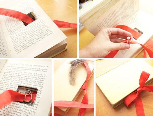 vintage book wedding ring holder