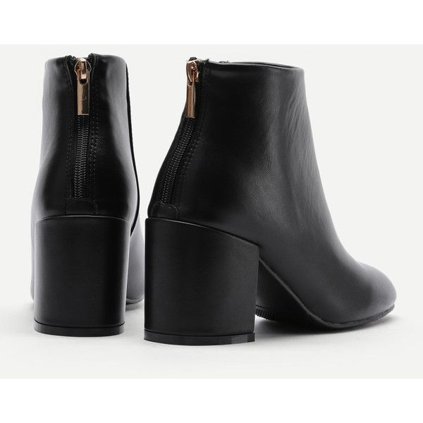 Back Zipper Block Heeled Ankle Boots ❤ liked on Polyvore featuring shoes, boots, ankle booties, back zipper boots, ankle boots, block heel bootie, bootie boots and ankle bootie boots