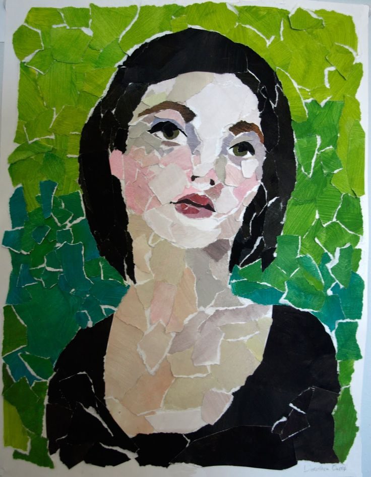 Self portrait made with torn paper - could you try this in your classroom?