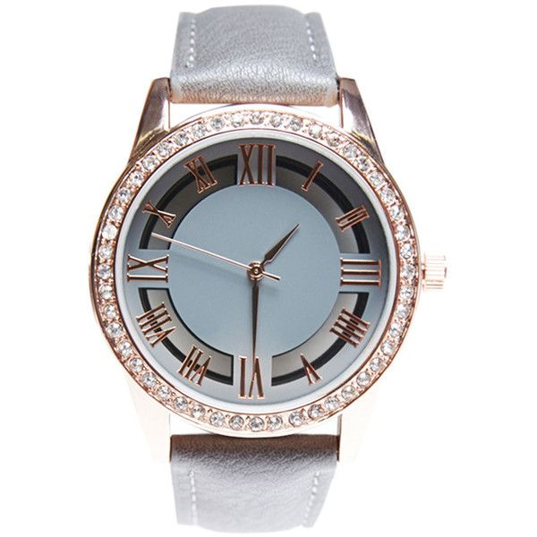 Accutime Watch Corp.  Studded See-Through Bling Watch ($21) ❤ liked on Polyvore featuring jewelry, watches, grey, wet seal, gray watches, bezel watches, roman numeral watches, see through watches and buckle jewelry