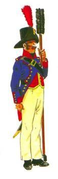 Artillería de a pie:  Soldado de artillería en traje de campaña. Nótese el sombrero de ala ancha rematado por la pluma.