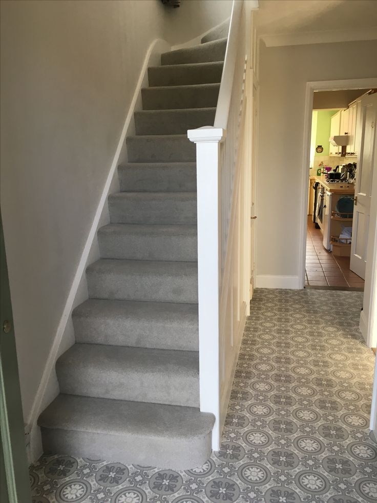 Hallway With Grey Patterned Lino Ultragrip Buzz Lisbon And Light Carpet On Stairs