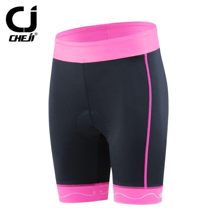 CHEJI Women Lady Outdoor Shorts Bike Cycling Shorts Underwear Reflective Stripe Bicycle Mountain Bike Padded Shorts Tight S-XXL