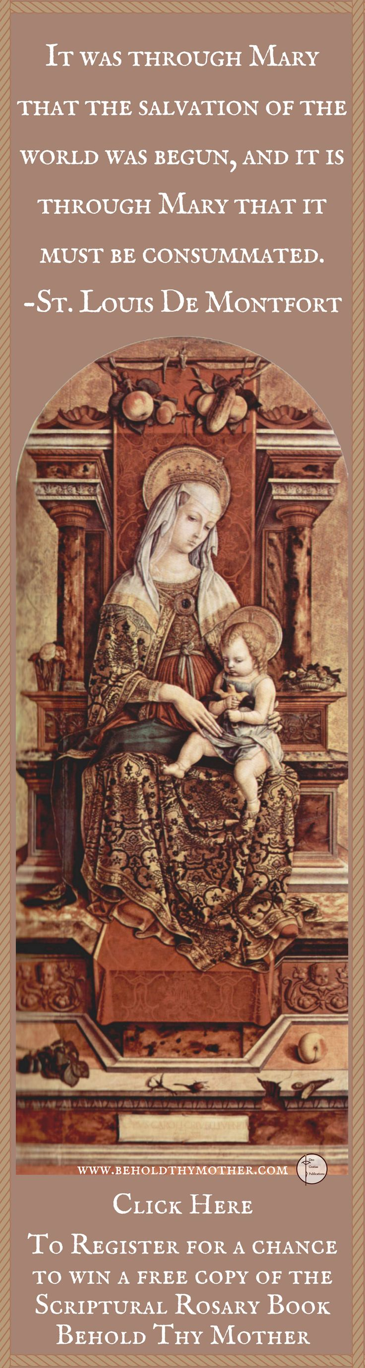 "Carlo Crivelli ""Enthroned Madonna"" Register to win a free copy of the Scriptural Rosary book ""Behold Thy Mother."""