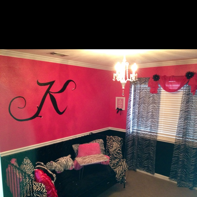 Just finished helping decorate this Hot pink and zebra  teen room for my niece: Zebras And Pink Playrooms, Teens Rooms, My Rooms, Zebras Rooms, Idea For Teens Girls Bathroom, Black Shelves, Teens Girls Bedrooms Idea, Girls Rooms, Dream Rooms