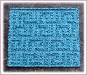 """Wishing Well"" ""Lots of Love"" ""Greek Key Design"" Knit Dishcloth Pattern"