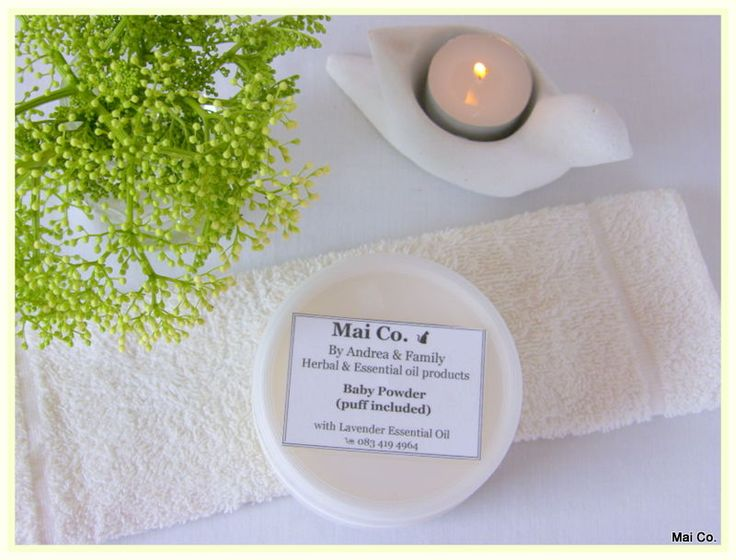 Mai Co's Baby Powder with Lavender Essential Oil...gentle and safe to use on baby's skin ensuring there will be no nasty reaction, itching or rashes. No chemicals, artificial ingredients and fragrances that are sure to aggravate the skin.