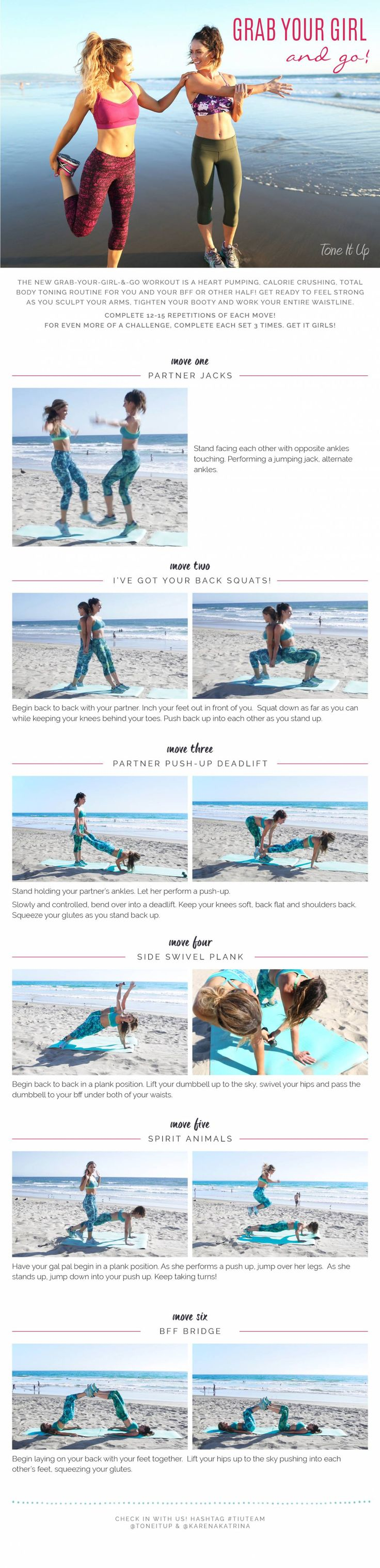 Grab your bestie and go Tone it Up! This partner workout from our friends Karena and Katrina will get you fit for Fall in no time.