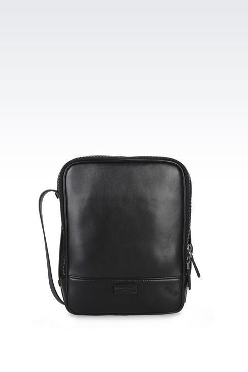 Giorgio Armani Men Messenger Bag - SHOULDER BAG IN LAMBSKIN AND LEATHER Giorgio Armani Official Online Store