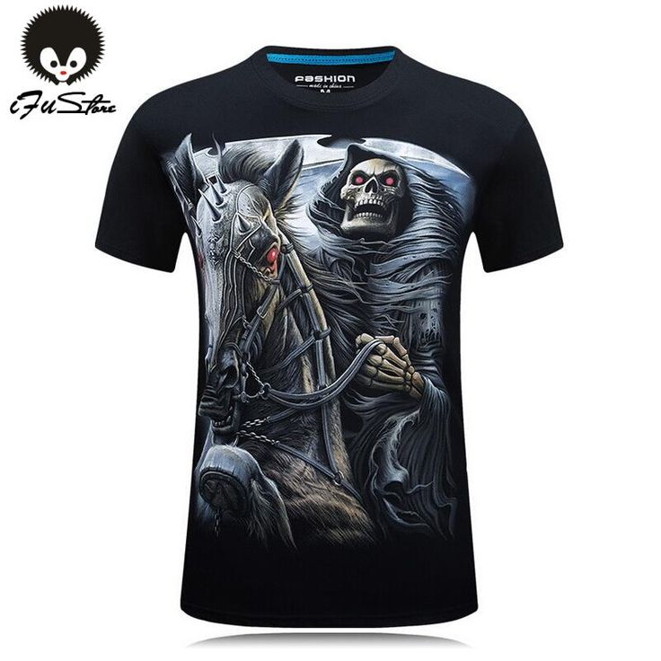 S-6XL 10 style Mens 3d Skull Cotton T Shirts Fashion 2016 Summer New Brand T Shirt Men Hip Hop Men T-Shirt Casual Fitness Swag