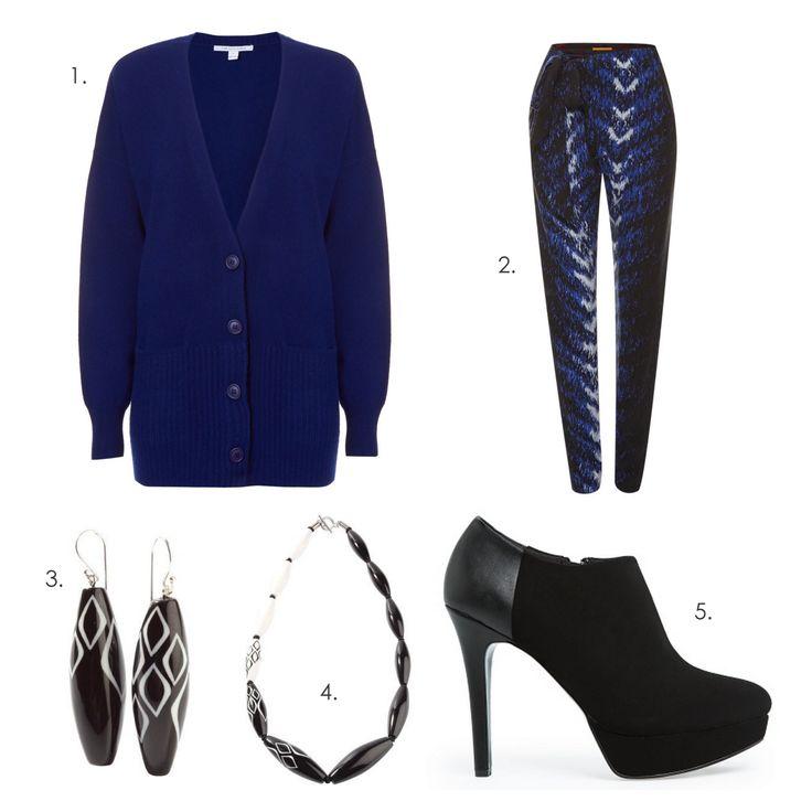 Warm & Stylish #ZSISKA 1.Cardigan: Diana von Furstenberg 2.Trousers: Boss Orange 3.Earrings: Zsiska Trigger 4.Necklace: Zsiska Trigger 5.Pumps: Mango