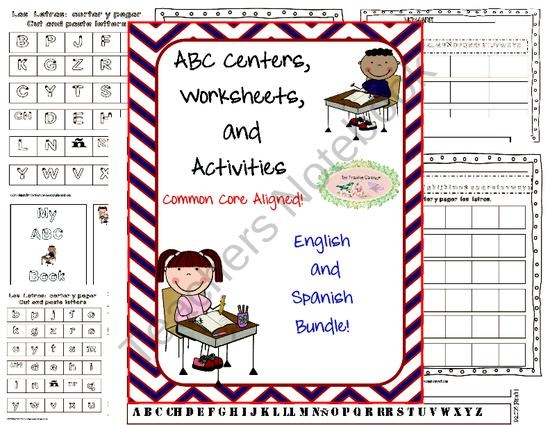 ABC Centers, Worksheets, Activities Common Core  Spanish and English Bundle from thetravelingclassroom on TeachersNotebook.com (50 pages)  - ABC Centers, Worksheets, Activities Common Core  Spanish and English Bundle