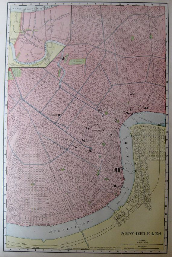 RARE Antique NEW ORLEANS Map 1907 Vintage