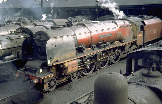 Coronation Class 4-6-2 number 46240 City of Leeds at Willesden shed London