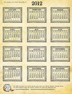 2012 calendar - Vintage inspired printable--keep for later...January 2012 will be here before we know it!