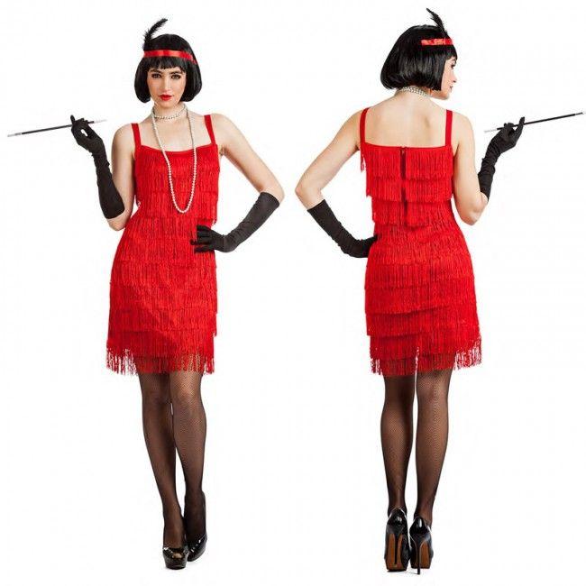 Disfraz de Charlestón rojo con flecos para mujer #disfraces #carnaval #novedades2017