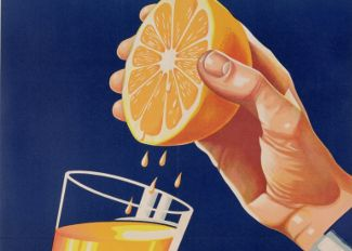 Poster with a glass of Orange Juice, c.1947 (colour litho), Israeli School (20th Century) / Private Collection / DaTo Images
