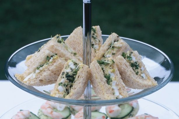 Jazz up traditional egg mayo sandwiches by adding curry powder and mustard cress.