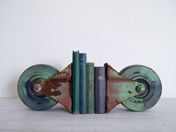 Vintage bookends by epoch co.: Etsy, Vintage Bookends, Green Castor, Castor Sets Bookends, Storage Ideas, Vintage Industrial, Industrial Green, Castor Setbookend, Epochco