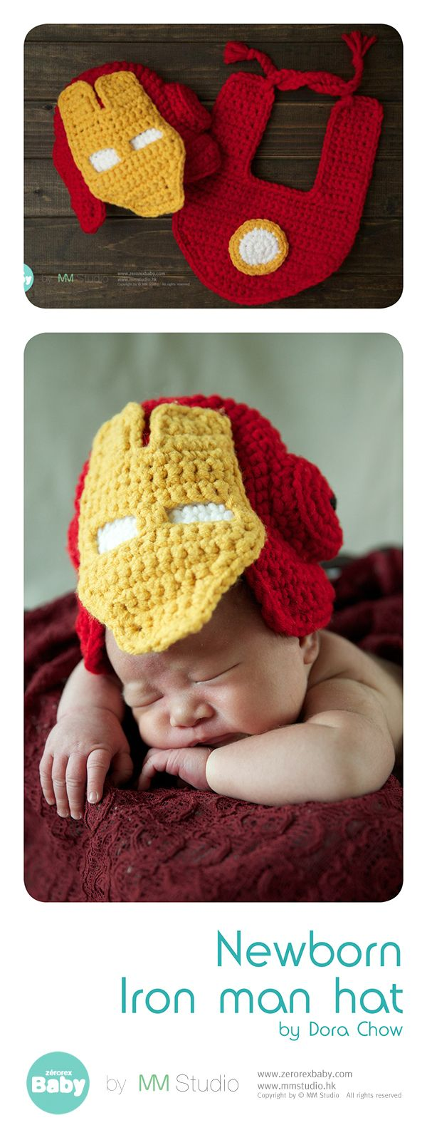 Crochet Iron man newborn hat