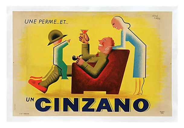 "Jean Carlu (1900-1989) un cinzano, 1930's, 38 1/2"" X 48 3/4"""