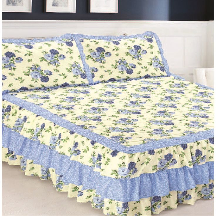 Pegasus Slumber Shop Blue Triple Ruffle Bedspread and Sham Set