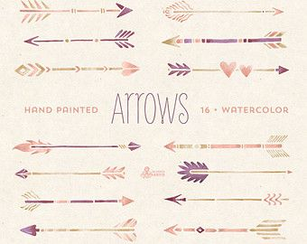 Arrows Watercolor Clipart. 11 Hand painted by OctopusArtis on Etsy