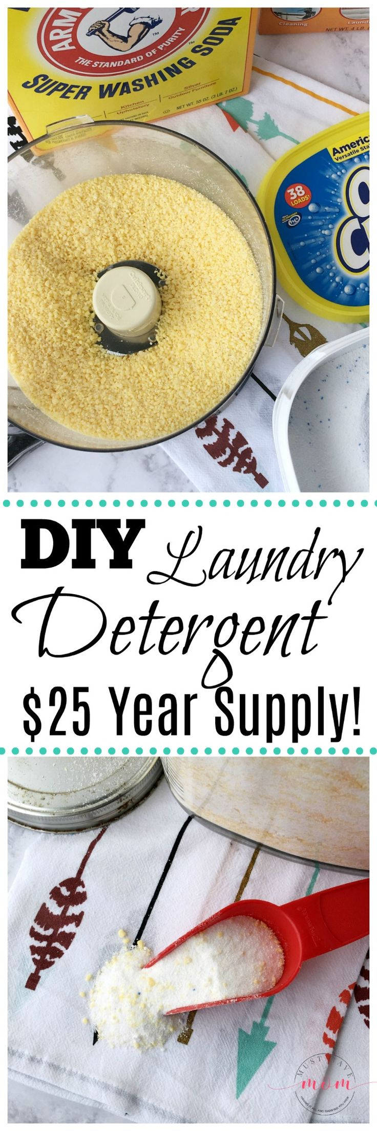 Make your own homemade laundry detergent recipe for just $25 for a year supply! Sponsored #SuperWashingSoda