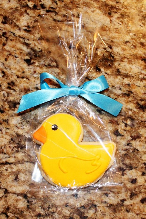 Rubber Ducky Cookies...too cute for a baby shower! #Baby #shower #favors