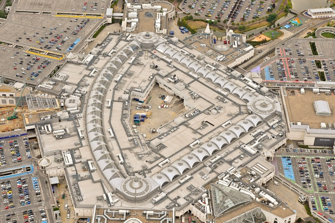 An aerial photograph of Bluewater Shopping Centre, Kent