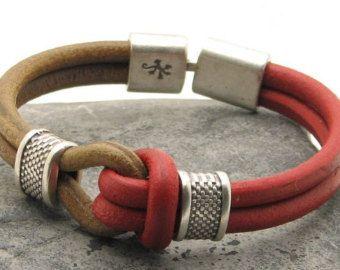 Pulseira de couro dos Frete grátis Men Tan e nó pulseira de prata de marinheiro de couro vermelho espaçadores e folha e lagarto texturizado fecho banhado