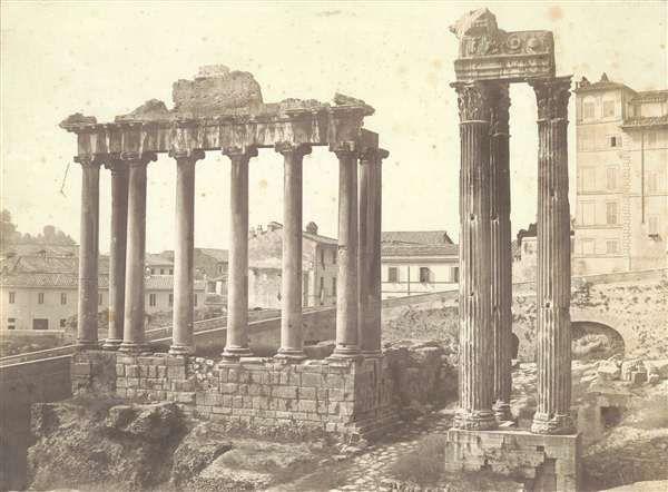 1855/58 autore non identificato . Tempio di Saturno con il lato sinistro del Campidoglio sullo sfondo