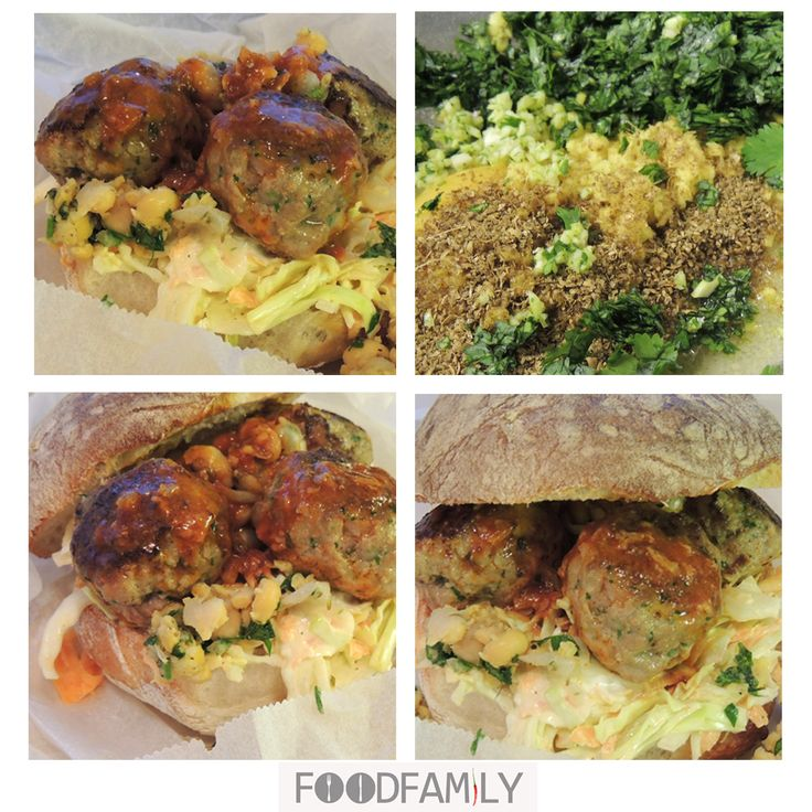 Meatball burger with coleslaw - FoodFamily