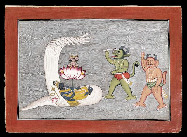 A folio from the Devi Mahatmya, part of the Markandeya Purana: Vishnu sleeping on the sea-serpent on the face of the waters, Brahma seated on the lotus rising from his navel, the demons Madhu and Kaitabha about to attack Pahari, probably Basohli, early 19th Century