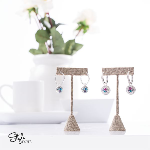 Dress it up or dress it down with our either Classic or Bling Hoop Earrings that you can wear every day. Shown here with some of our fun multi-crystal 12mm Medley Dots.