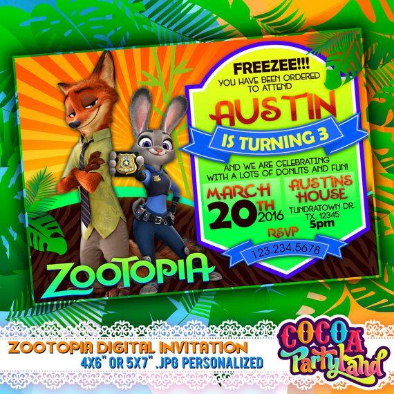 Zootopia Digital invitación imprimible cumpleaños por CocoaParty