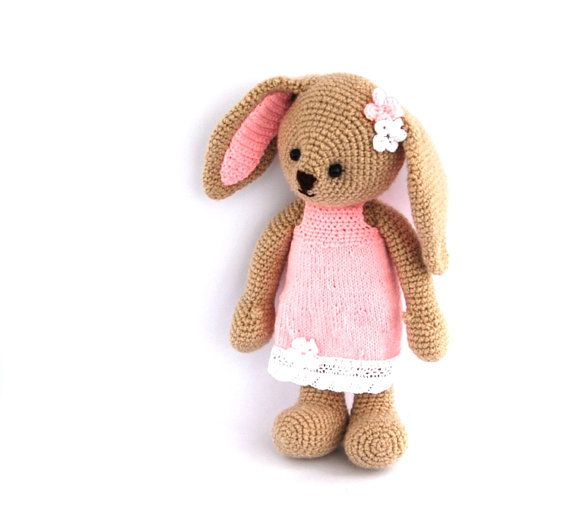 crocheted Easter bunny stuffed beige bunny with by crochAndi, $42.00