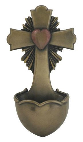 Cross With Heart Holy Water Font from the Veronese Collection. This holy water font is a beautiful addition to any church, chapel, prayer room or Catholic home. Made of resin and faux cold cast bronze