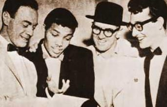 Alan Freed, Larry Williams, some guy in a hat and Buddy Holly