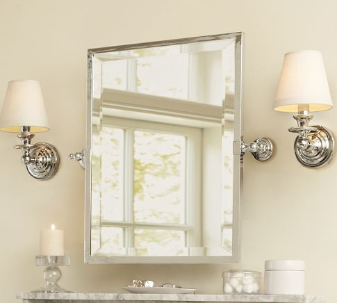 Photo Of bath mirror Mirror that tilts to acmodate any user height Ashland Pivot Mirror from Pottery Barn