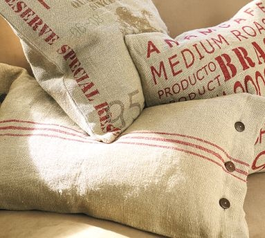 Decorating with coffee, grain, rice, and seed bags of old.