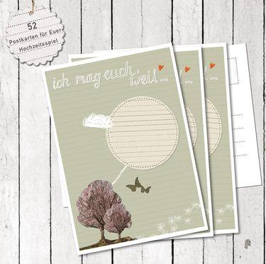 """Hochzeitsspiel: 52 """"Ich mag euch, weil""""-Postkarten"""