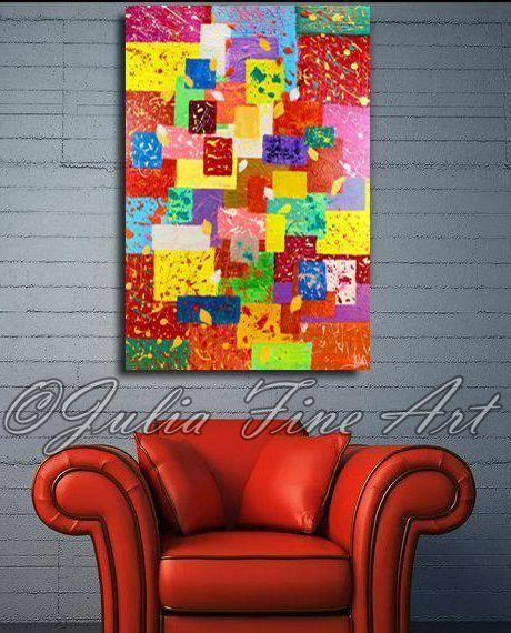 Peinture abstraite, ethnique, peinture, géométriques, Rectangles, carrés, grand Art, décor coloré, contemporain, Modern, rouge peinture abstraite