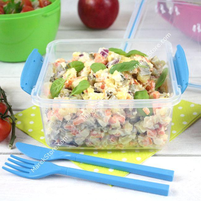 Hermetyczny pojemnik śniadaniowy / lunch box na sałatkę z sztućcami w zestawie lunch box SISTEMA TO GO