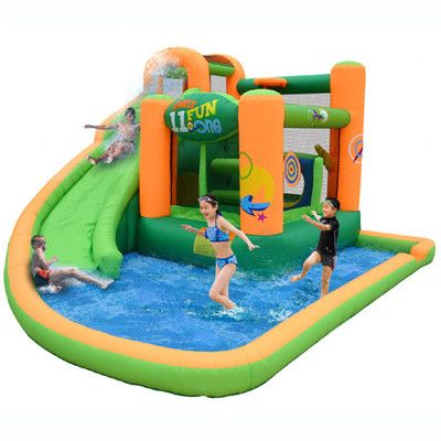 Features:  -Includes walled landing area for slide for super splashing.  -Can bounce and slide on this water unit.  -It is recommended that when you are finished using the product, to empty, dry, and