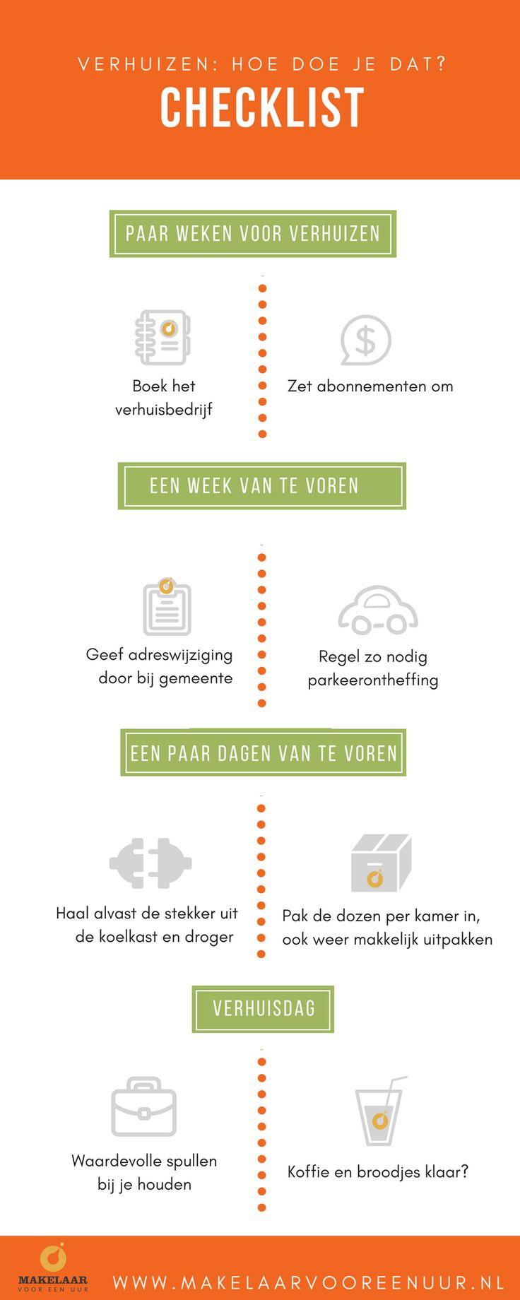 Hoe verhuis je je spullen het beste van het oude huis naar je nieuwe woning: zonder stress? Wij helpen jou met het maken van je verhuisplan. Is het iets voor jou om op de verhuisdag zelf pas te zien dat de lampen nog aan het plafond hangen? Dan kan deze checklist je helpen. #infographic #dutch #nederland #interieur #verhuizen